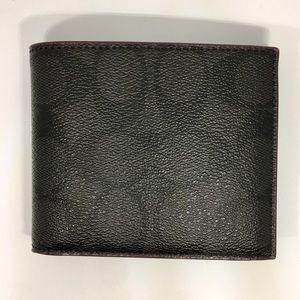 Coach Men Signature Compact ID PVC Wallet